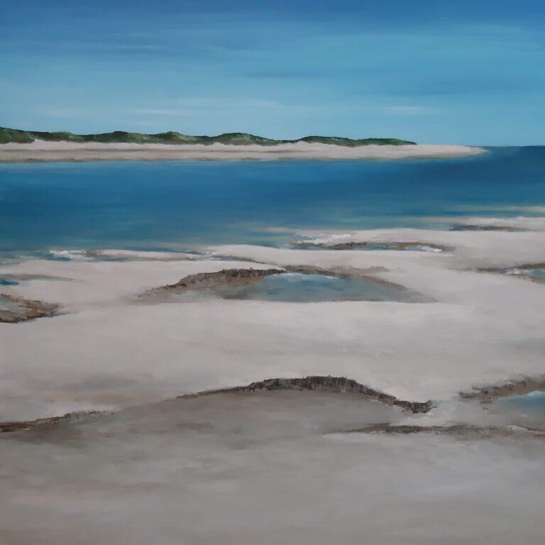 schilderij van een zeegezicht met zee, strand en duinen