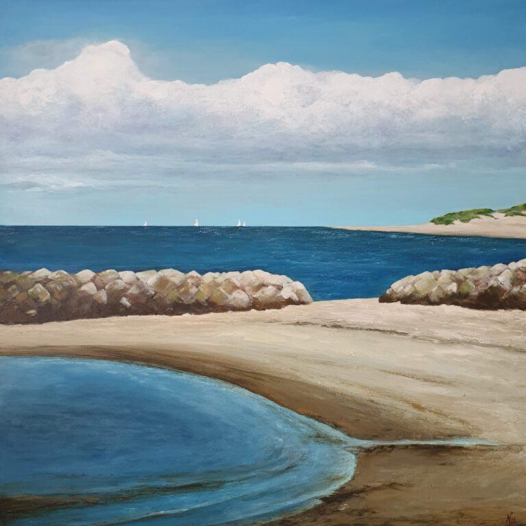 schilderij van een zeegezicht met baai