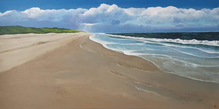 schilderij van een zeegezicht met strand en duinen