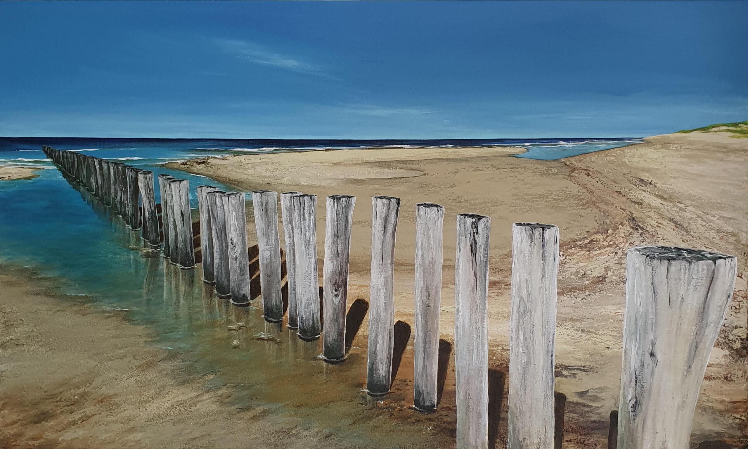 schilderij van een zeegezicht met strandpalen zee, strand en duinen
