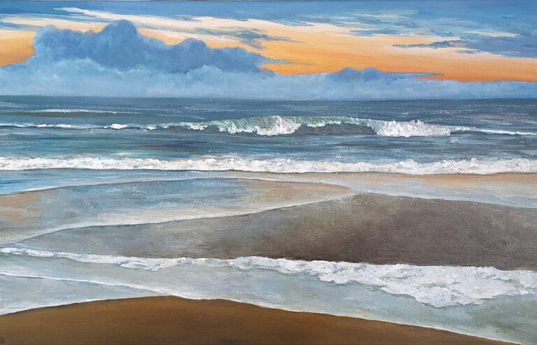schilderij van een zeegezicht met zonsondergang