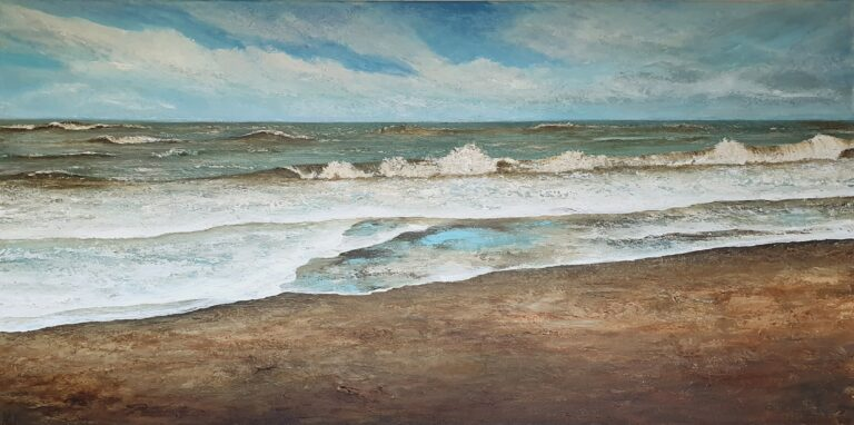 schilderij van een zeegezicht met zee en golven