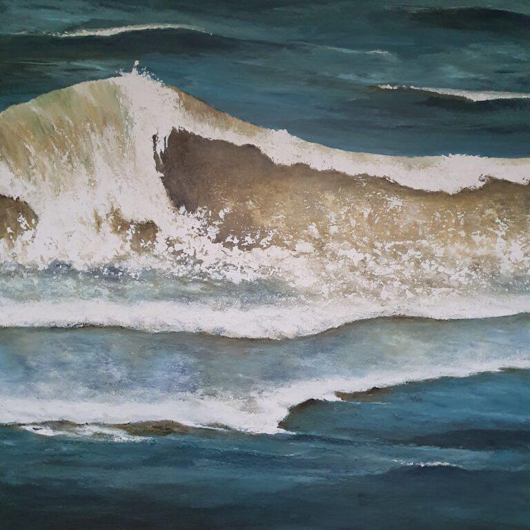 schilderij van een zeegezicht met golf